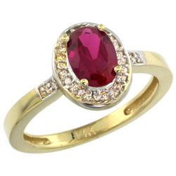 Natural 0.98 ctw Ruby & Diamond Engagement Ring 14K Yellow Gold - REF-45K3R