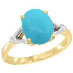 Natural 2.41 ctw Turquoise & Diamond Engagement Ring 10K Yellow Gold - REF-31X5A