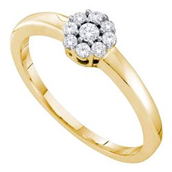 0.20 CTW Diamond Cluster Bridal Engagement Ring 14KT Yellow Gold - REF-26F9N