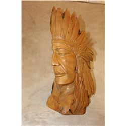 Carved Cypress Wooden Indian Chief Head- Tip of 1 Feather Broken- 3 Cracks in Wood
