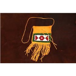 """Beaded Sioux Fringed Possibles Bag- Made By Montana Artist Jim Thomason- Carrying Strap- 13""""H 7""""W"""