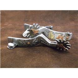 Unmarked Silver, Copper and Brass Overlaid Spurs-Lady Legs- Overlaid Saloon Girl on Bands