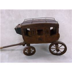 """Unmarked Miniature Stagecoach With Bucking Horse on Door- 20""""L X 8""""W X9.5""""H"""