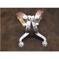 """Unmarked Silver Overlaid Spurs- .75"""" Bands 3"""" Shanks- 10 Point Rowels"""