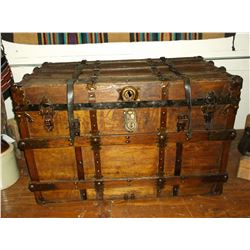 """Antique Trunk With Handles- Slatted- 38""""L X 25""""H X 21""""D"""