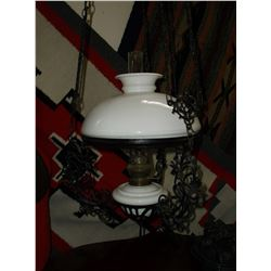 """Adjustable Hanging Oil Lamp- Wrought Iron- 47""""L X 95""""W"""