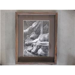 """Signed Charles Ewing Print- 1980- 659/100 - """"Perseverance""""- Frame 19""""H X 15""""W"""