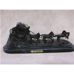 """Marked """"Stagecoach"""" By CM Russell Copyright ASB Bronze- 22""""L X 9""""H X 8.5""""D"""