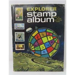 EXPLORER STAMP ALBUM, (W/LOOSE AND AFFIXED STAMPS)