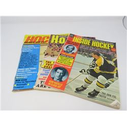 HOCKEY MAGAZINES, INSIDE HOCKEY, YEARBOOK AND GUIDE (QTY 3 - 1972)