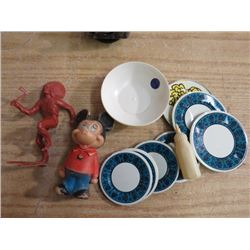LOT OF TOYS, (MICKEY MOUSE, INDIAN CHIEF, DISHES, DOLL BOTTLE0