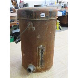 2 GAL. ANTIQUE CREAM CAN *W/WOOD HANDLE* & CANNER, *NO LID, BOTTOM RUSTED*