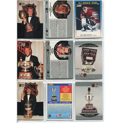 3 SHEETS HOCKEY CARDS, (TROPHY WINNERS, DRAFT PICKS, COACHES, OFFICIALS)