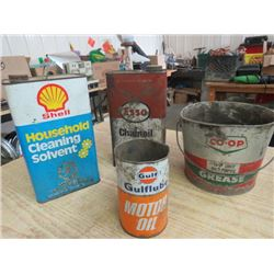 LOT OF 4, (3 TINS ESSO, GULF, SHELL, 1 CO-OP GREASE PAIL)