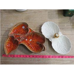 2 LEAF SHAPED DISHES, (CALIFORNIA POTTERY), (1 MADE IN ENGLAND #M407)