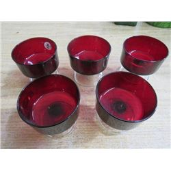 5 RUBY COLORED DESSERT DISHES (W/STEMS)