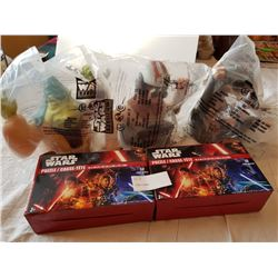 STAR WARS 3 CUPS SEALED TOPS, 2 PUZZLES