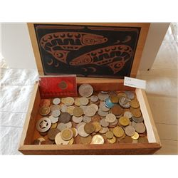 WOODEN BOX (W/COINS/TOKENS)