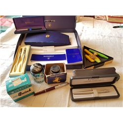 WRITING RELATED LOT, (PENS, ETC)