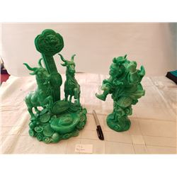 RESIN FIGURES, JADE COLORED, *LARGE, HEAVY* (QTY 2)