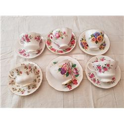 6 CUPS, SAUCERS, *3 ARE ROYAL ALBERT*