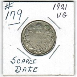 1921 CANADIAN QUARTER *SCARCE DATE*