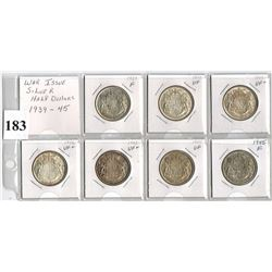 LOT OF 7 CANADIAN SILVER HALF DOLLARS -  *WAR YEARS* (1939, 40, 41, 42 ,43, 44 ,45)