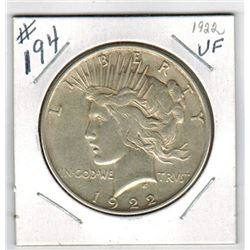 1922 US *PEACE* SILVER DOLLAR