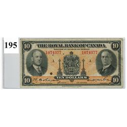 1935 ROYAL BANK OF CANADA ($10 BANKNOTE) *SER. # 1074377*