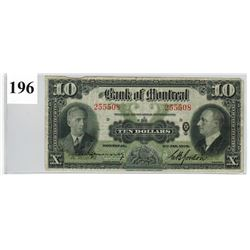 1938 BANK OF MONTREAL ($10 BANKNOTE) *SER. # 255508*