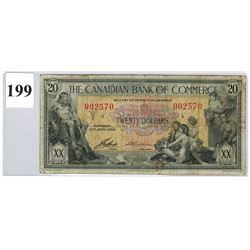 1935 CANADIAN BANK OF COMMERCE ($20 BANKNOTE) *SER. # 002570*