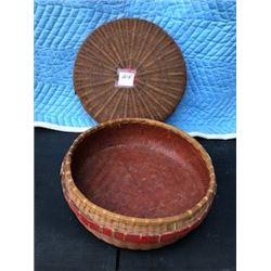 """WOVEN BASKET (14"""", COVERED)"""