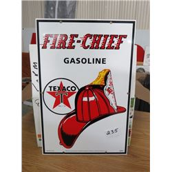 """SIGN (TEXACO FIRE CHIEF) *STEEL REPRODUCTION* 18""""X12""""* (TIN)"""