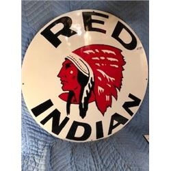 """RED INDIAN SIGN (30"""", HEAVY GAUGE STEEL)  *REPRODUCTION*"""