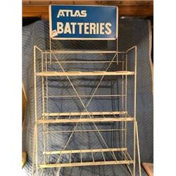 """ATLAS BATTERY STAND (W/SIGN, 48"""" HIGH AND 25"""" WIDE)"""