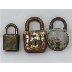3 LOCKS *NO KEYS* (SLAYMAKER, YALE JUNIOR, 1 UNMARKED)
