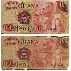 2 GHANA BANK NOTES, *TEN CEDIS* (1972 & 1973)