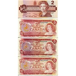 4 CNDN BANK NOTES, $2, *1 UNCIRCULATED*