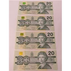 4 CNDN BANK NOTES, $20, *UNCIRCULATED*\