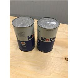 2 OIL TINS (MOBIL OIL) *FULL*