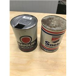 2 OIL TINS HAVOLINE & LEMANS, SNO-BIL, *FULL*