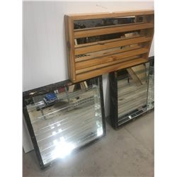"3 DISPLAY CABINETS, (FOR MINIATURES) *2 - 20X20:M 2.5"" D, 1 - 24X13*"