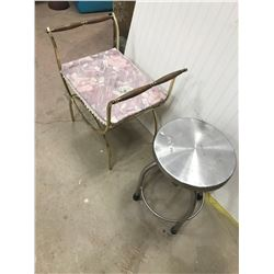 "VANITY STOOL, ART DECO & STAINLESS STEEL *ADJUSTABLE STOOL* (GOES FROM 19 TO 28"")"