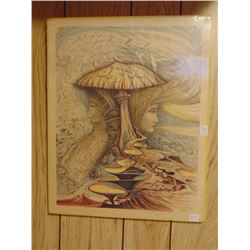 "GUY LOMBAI SURREAL ART PRINT (SIGNED IN PENCIL) *16 BY 20 "" TACK HOLES IN CORNERS*"