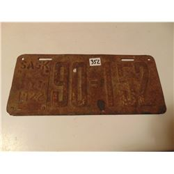 1922 SASK LICENCE PLATE ON STEEL (1922 PLATE NOT 1919) *RARE*