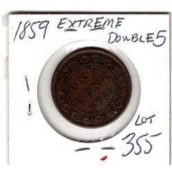 1859 STRONG DOUBLED 5 CANADA LARGE CENT