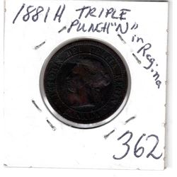 1881H LARGE CENT *TRIPLE PUNCH N ERROR VARIETY*
