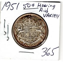 1951 50 CENT PC (HEARING AID VARIETY)
