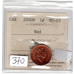 2000W ONE CENT *CERTIFIED MS65 ICCS*