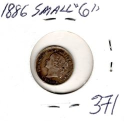 1886 5 CENTS (SMALL 6) *SILVER*